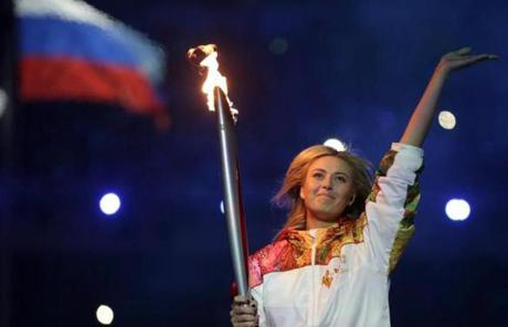 Russian tennis star Maria Sharapova carried the torch during the ceremony.